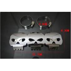 Protecteur de chaleur pour tuyaux d'échappements 'skull chrome'